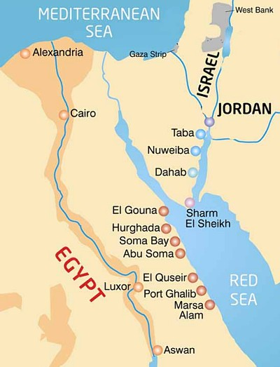Map of Egypt trás trajektov